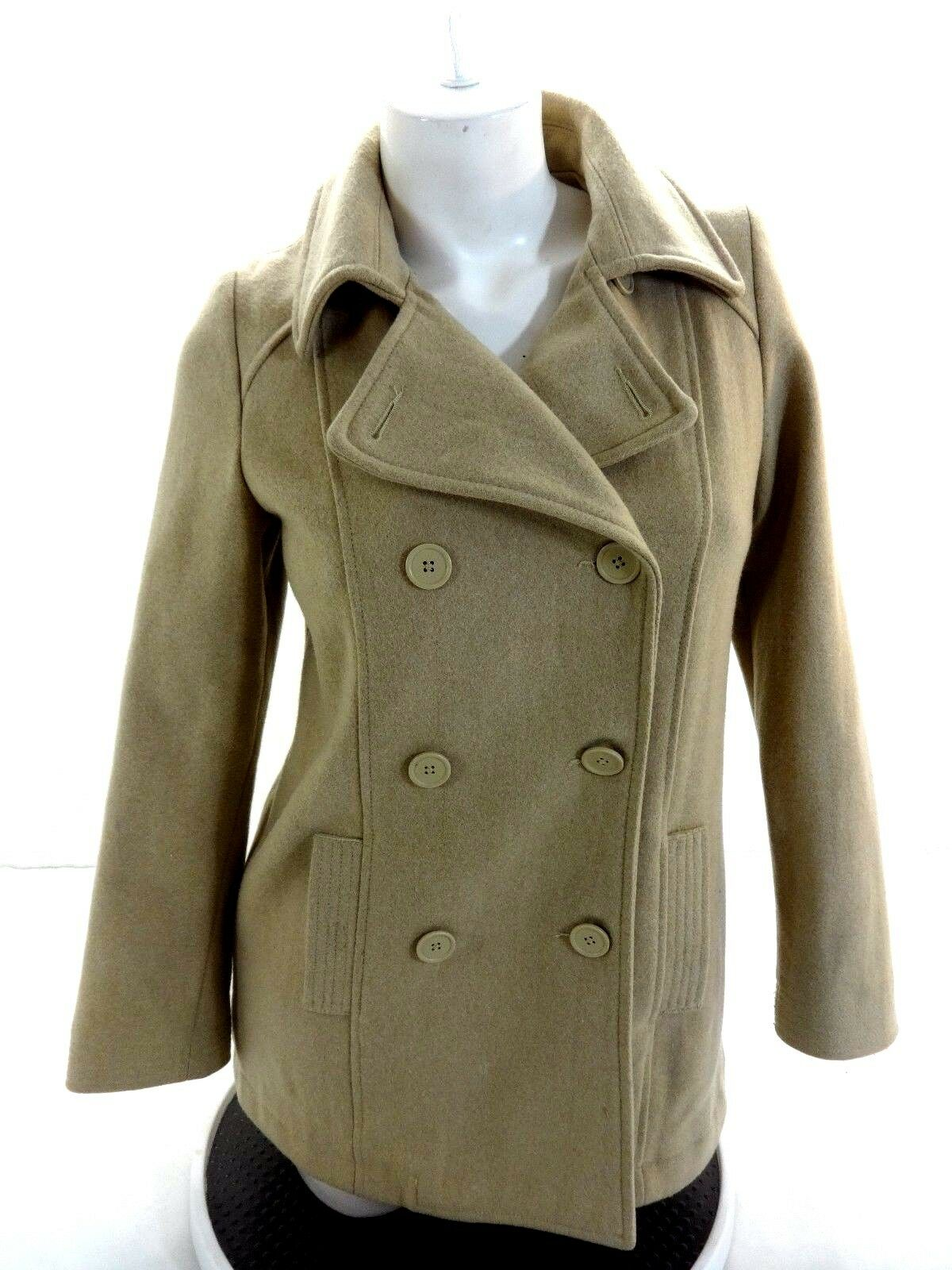 59b84ce6eea Details about OLD NAVY WOMENS TAN WOOL BLEND PEACOAT JACKET SIZE XS