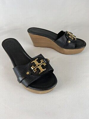 Tory Burch Black & Wood 8M With Gold Insignia Wedge Slide Sandal