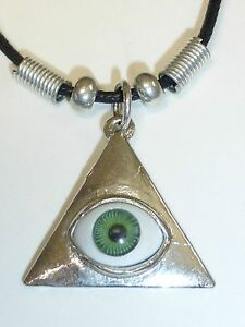 NEW SILVER GREEN EVIL EYE PYRAMID TRIANGLE PENDANT NECKLACE Ship From USA