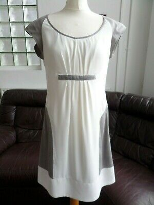Lauren Vidal Pretty Cream/Taupe Summer Knee Length Lined Dress Size S UK 10