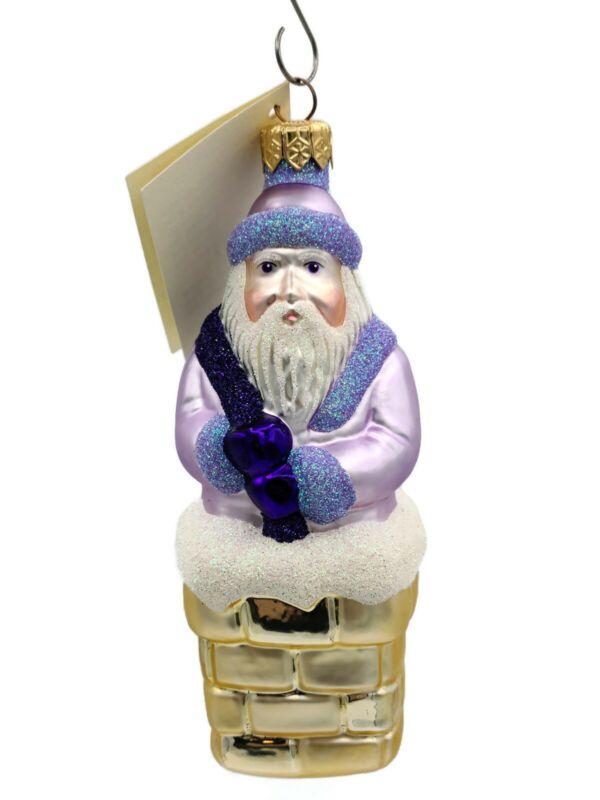 Patricia Breen Here Comes Santa Claus Lavender Christmas Holiday Ornament