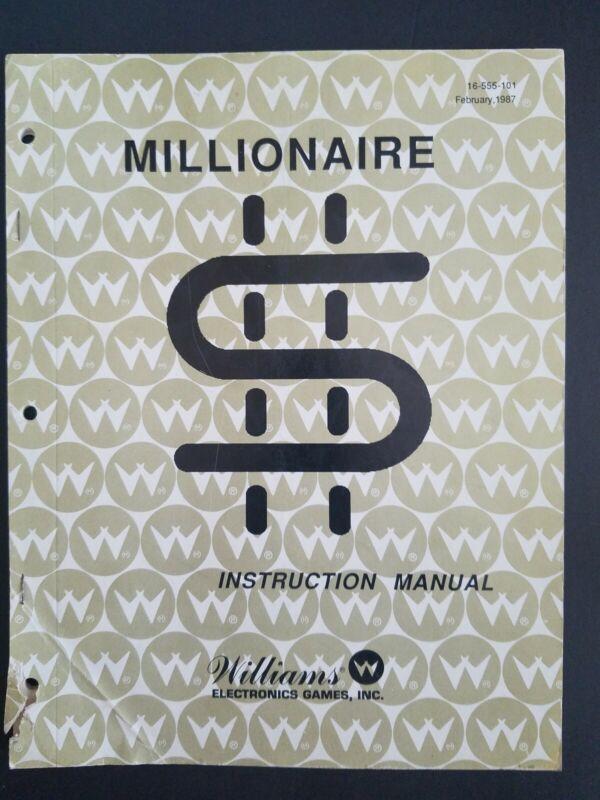 Original Vintage Millionaire Pinball Game Instruction Manual Schematics 1987