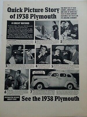1938 quick picture story of Plymouth car vintage original ad