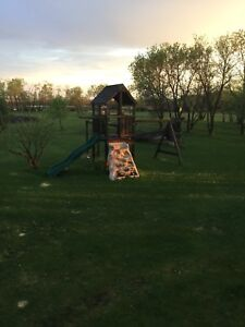 Solid wooden play structure