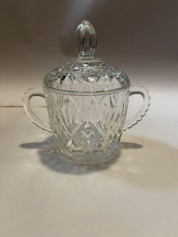 Vintage RETIRED  Sugar Bowl & Lid  Prescut Clear by ANCHOR HOCKING Free Ship