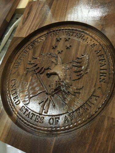 Veterans Affairs Plaque Solid Hardwood Model VA Seal CNC 3D Model Also For Sale