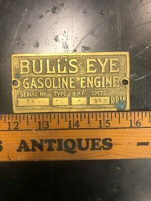 Antique Brass Bulls Eye Jacobson Hit Miss Gas Engine Tag Reproduction