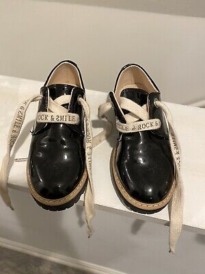 Zara Kids Girls Youth Lace Up Patent Leather Derby Shoes Black Size 27 (10.5 Us)