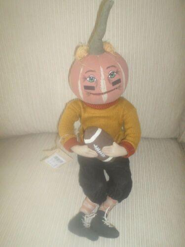 Joe Spencer Tradition Pumpkin Football Defense Dan Sculptured Halloween Doll NWT
