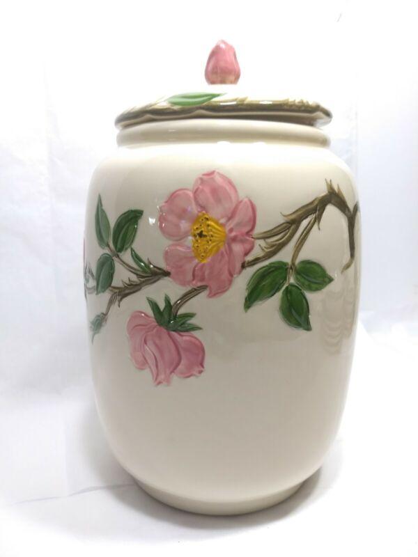 Vintage 1950s MidCentury  Franciscan Cookie Jar ~ Desert Rose ~ Pink Flowers