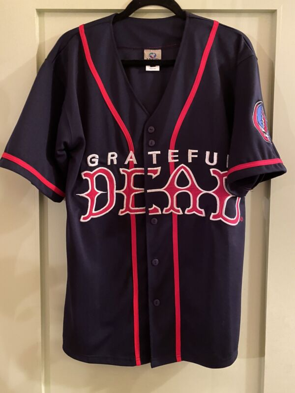 Vtg Grateful Dead Liquid Blue Steal Your Face Baseball Jersey Sz M EMBROIDERED