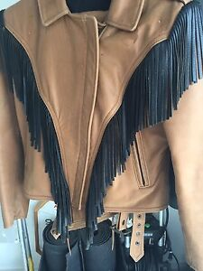 Women's Leather Motorcycle Jacket & Chaps Med