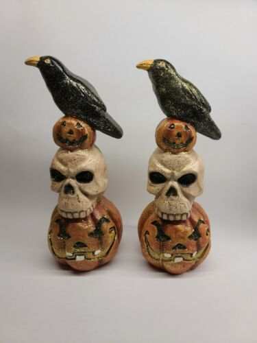 "Halloween Crow Skull Pumpkin Figurines Statues 11.5"""