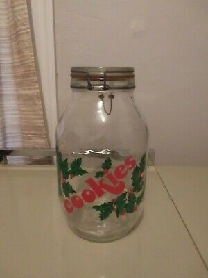 VINTAGE CHRISTMAS COOKIE JAR GLASS WIRED LID HOLLY BERRIES GALLON 3L