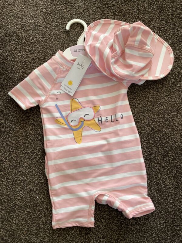 M&S Baby Girl Swim Set 3-6 Months Pink And White With Hat BNWT