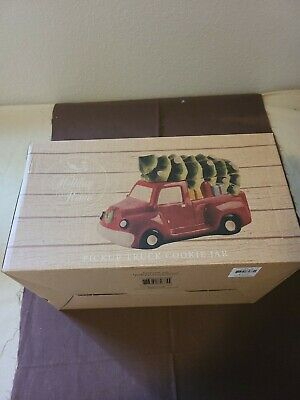 Red Pick up Truck With Tree Cookie Candy Jar Christmas NEW