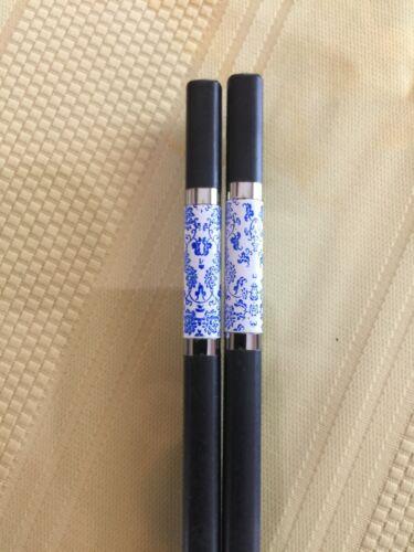 JAPANESE LIGHT BLUE FLOWERS ALLOY CHOPSTICKS W/ FREE HANDMADE SILK HOLDER