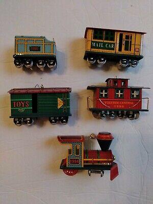 Train Christmas tree ornaments set of 5 metal Holiday Christmas choo choo