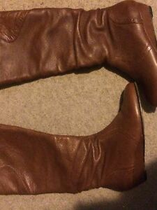 Size 7 real leather small wedge caramel coloured boots London Ontario image 1