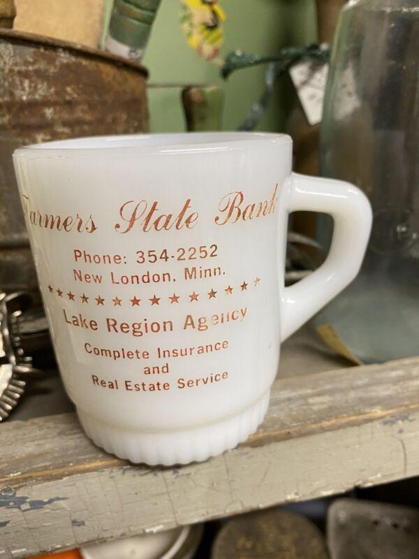 Vintage FIRE KING Mug Cup, Farmers State Bank, Lake Region New London, Minnesota