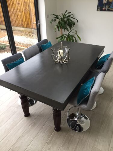 6ft X 3ft Slate Bed Snooker Table With Dinning Top and Chairs