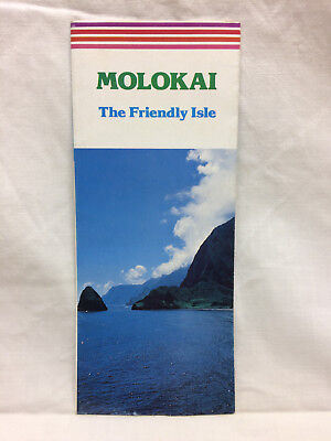 Vintage Travel Pamphlet Molorai Hawaii Fold-Out 1982