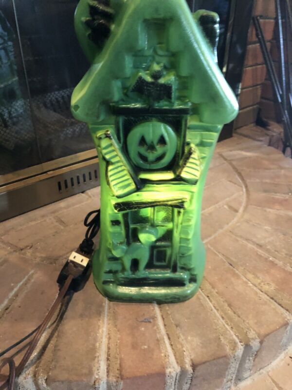 """Vintage WORKS Green Spooky Halloween 17"""" Lighted Blow Mold Haunted House Bat Cat"""