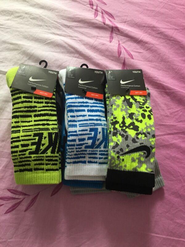 Nike Crew Performance Cotton Cushioned Youth Socks 3Pairs/Pk SizeM (5Y-7Y)