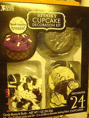 Halloween SPOOKY 24 Cupcake Decoration KIT Bones SKULLS Picks Black WHITE