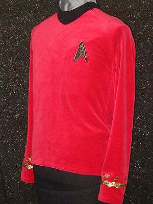 CUSTOM-MADE COSTUMES Red Five Star TREK clothes Uniform ANYSIZE Trek Shirt  - Customized Costumes