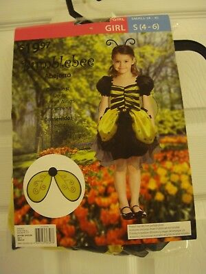 Child's Girl Bumblebee Dress Yellow/Black Kids Small 4 to 6 Costume New - Baby Girl Halloween Costumes Walmart