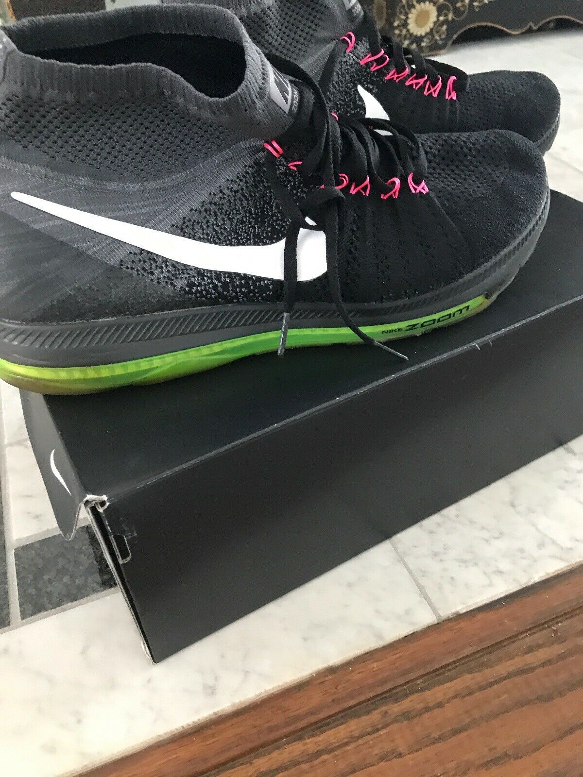 Nike Zoom All Out Flyknit Black Cool Gray White Volt 844134-002 Sz 13