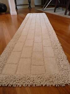 NATURAL IVORY 100% COTTON HALL FLOOR RUG RUNNER - 60CM X 270CM - Macquarie Fields Campbelltown Area Preview