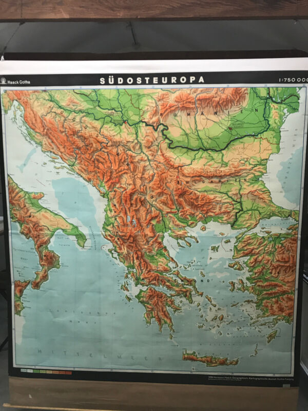 "Original 1970s Southern Europe: Physical & Political Classroom Map (83""L x 71""W)"