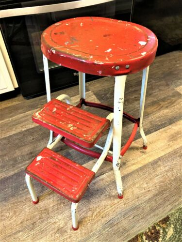 True Vintage Red & White Retro Step Stool / Chair with Sliding Steps Mid Century