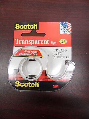 Scotch Transparent Glossy Tape Dispenser 12 X 450 - Lot Of 12 - 17d