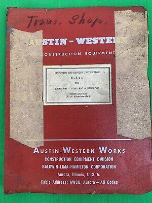 Oem Austin Western 400 500 Pacer Super 500 Motor Grader Operator Service Manual