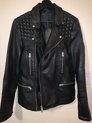 Allsaint Men Black Catch Biker Leather Jacket Size Xs