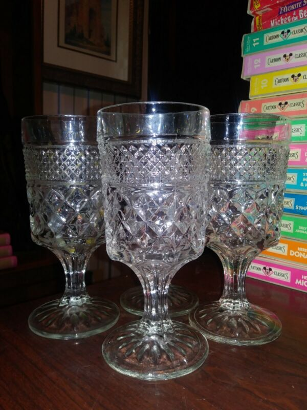 Anchor Hocking Glass 4 Clear Wexford 10 oz Water Goblets VINTAGE FREE SHIPPING