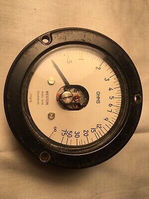 Weston Vintage Panel Meter 1539 0-75 Ohms