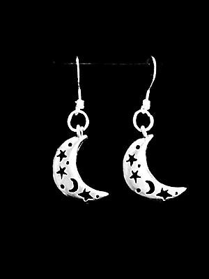 Crescent Moon Dangle Charm Earrings, Sterling Silver French Hook Ear Wire