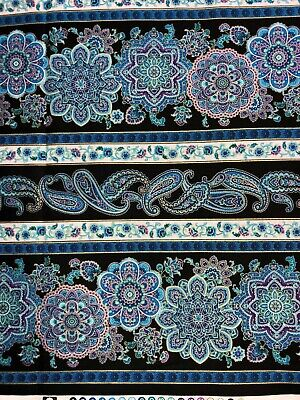 Linear Sampler Floral Paisley Flowers Shades of Purple Blues w/ Gold Fabric BTHY