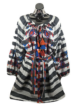 Zara TRF collection womens sz M striped embroidered tunic dress from the UK