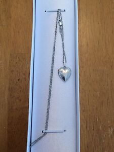 10k White Gold Locket Necklace with Small Diamond