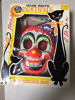 Ben Cooper Vintage Clown Halloween Costume Med 6/8 Childs orig box Color Brite