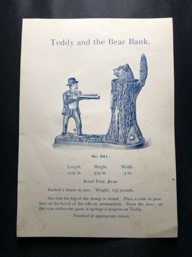 THEODORE ROOSEVELT C. 1907 CAST IRON MECHANICAL TEDDY AND THE BEAR BANK J. & E.