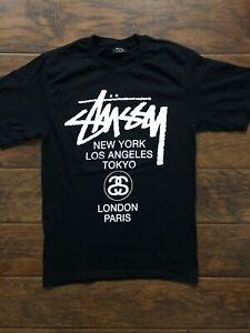 34410024 Stussy World Tour Black Tee Shirt Size Small