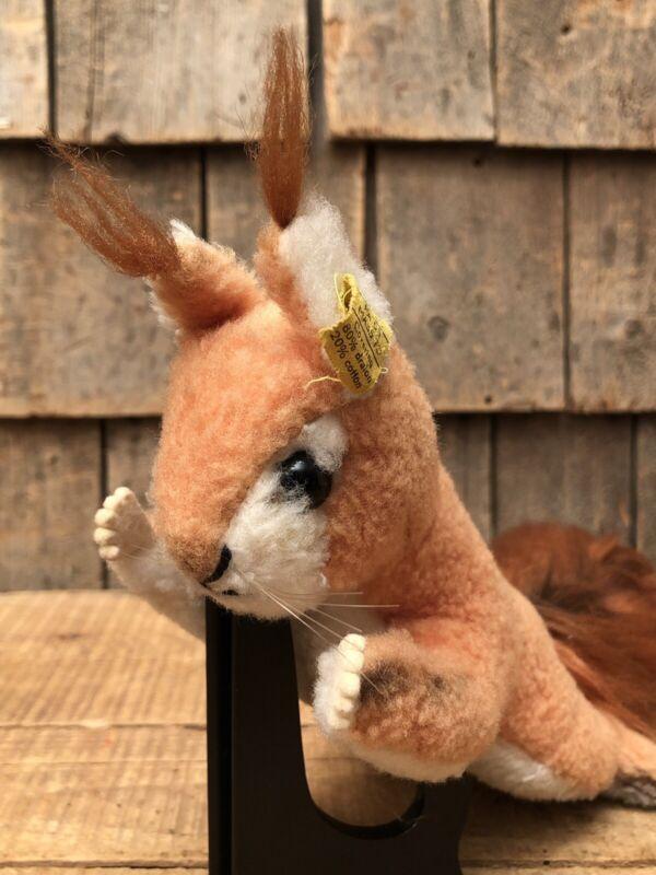 """Cute Vintage Original STEIFF Squirrel Stuffed Animal 15"""" Toy"""