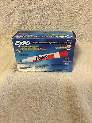 New 12-count Red Expo Intense Colors 83002 Dry Erase Markers Chisel Tip