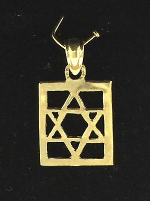 14K Solid Yellow Gold Jewish Square Star of David Charm Pendant 0.9 gram Jewelry